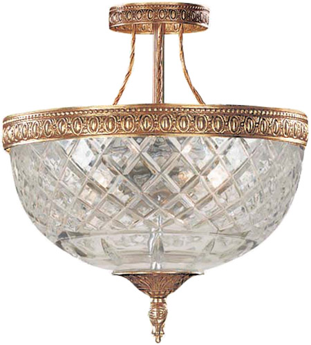 Crystorama Richmond 3 Light Semi-Flush Mount in Olde Brass 118-10-OB photo