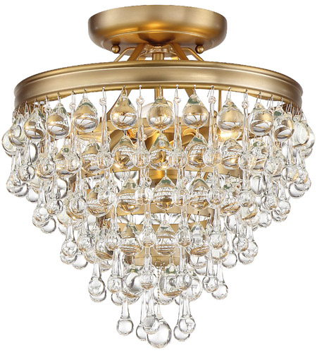 Crystorama 130-VG_CEILING Calypso 3 Light 12 inch Vibrant Gold Mini Chandelier Ceiling Light photo