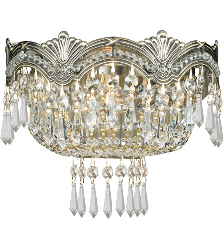 Crystorama 1480-HB-CL-S Majestic 2 Light 10 inch Historic Brass Wall Sconce Wall Light in Clear Swarovski Strass photo