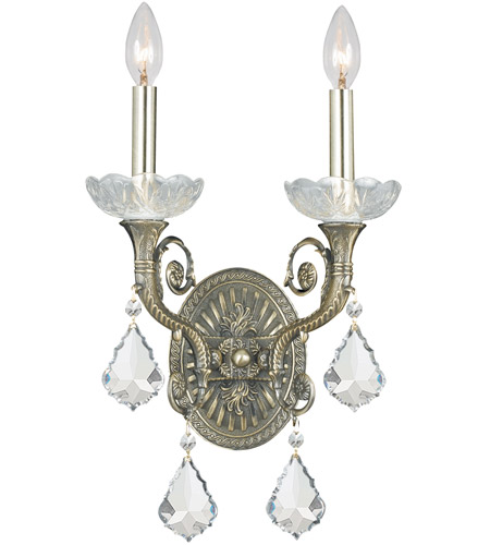 Crystorama 1482-HB-CL-S Majestic 2 Light 10 inch Historic Brass Wall Sconce Wall Light in Clear Swarovski Strass photo