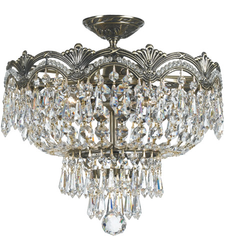 Crystorama 1483-HB-CL-S Majestic 3 Light 14 inch Historic Brass Semi Flush Mount Ceiling Light in Clear Swarovski Strass photo