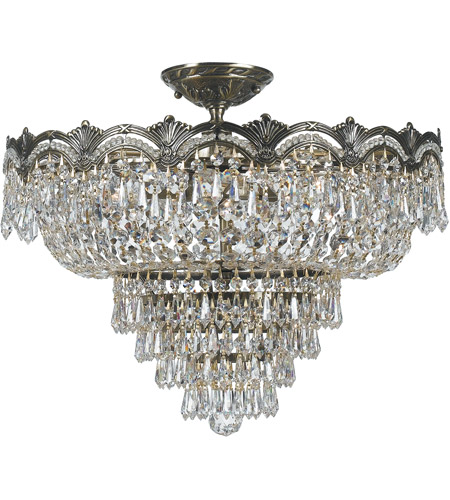 Crystorama 1485-HB-CL-MWP Majestic 5 Light 22 inch Historic Brass Semi Flush Mount Ceiling Light in Clear Hand Cut photo