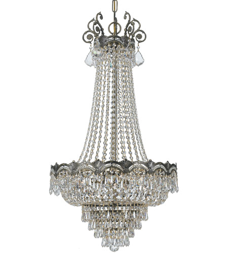 Crystorama 1487-HB-CL-S Majestic 8 Light 21 inch Historic Brass Chandelier Ceiling Light in 5, Clear Swarovski Strass photo