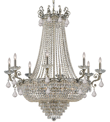 Crystorama 1488-HB-CL-MWP Majestic 20 Light 46 inch Historic Brass Chandelier Ceiling Light in Hand Cut photo