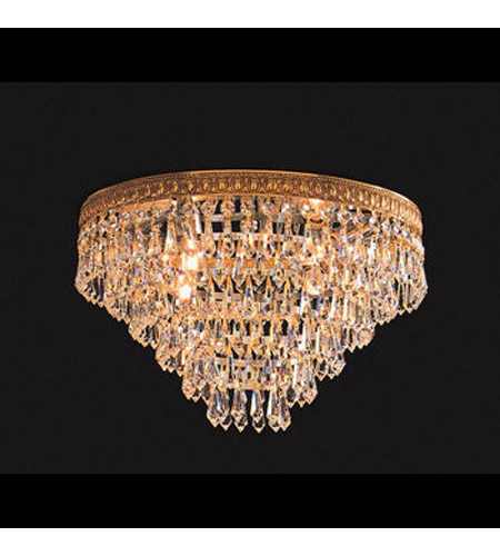 Crystorama Lighting European Classic 4 Light Flush Mount in Olde Brass & Swarovski Spectra - Clear 1514-OB-CL-SAQ photo