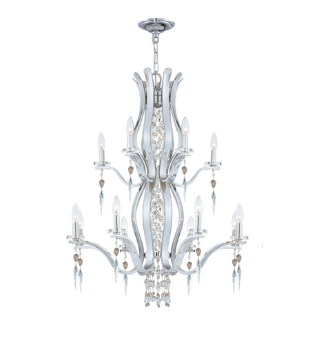 Crystorama Flow 12 Light Chandelier in Chrome 1579-CH-S photo