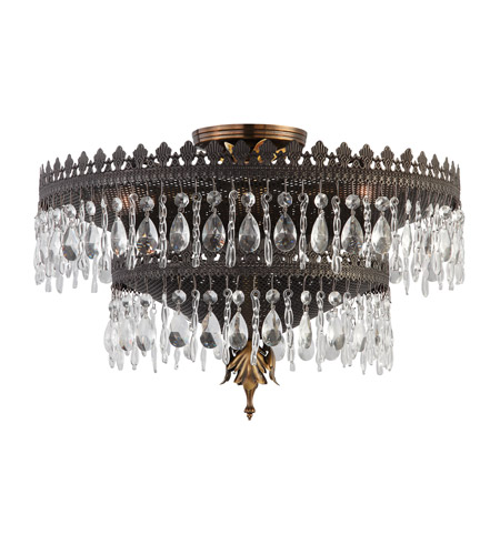 Crystorama Alhambra 5 Light Semi-Flush Mount in Fiesta 1595-FA photo
