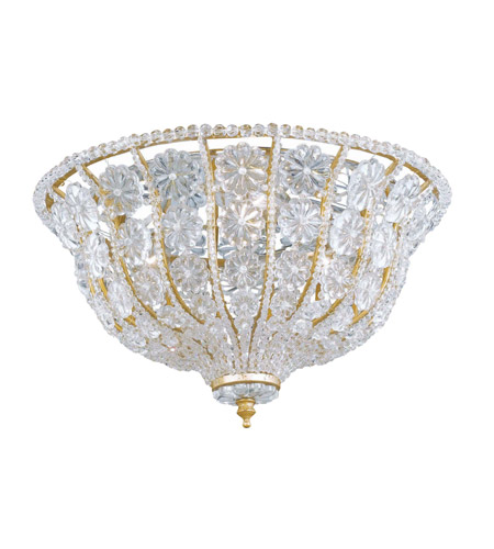 Crystorama Signature 3 Light Flush Mount in Burnished Gold, Clear Crystal, Hand Cut 218-BG-CL photo