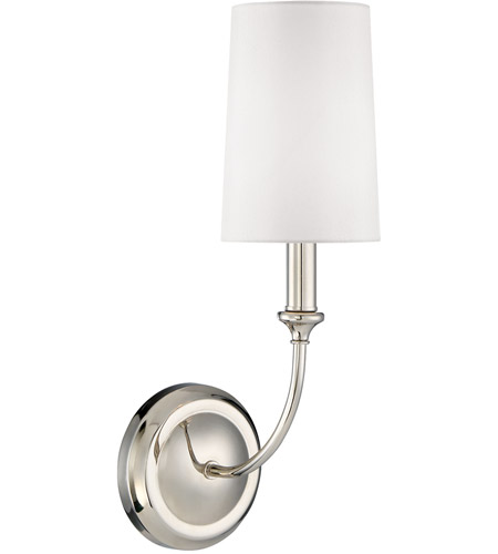 f7789ec6f969 Crystorama 2241-PN Sylvan 1 Light 5 inch Polished Nickel Wall Mount Wall  Light in Polished Nickel (PN), White Silk