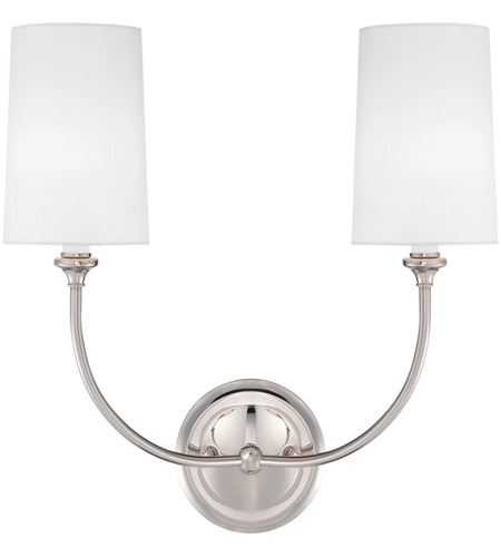 Crystorama 2242-PN Sylvan 2 Light 16 inch Polished Nickel Wall Sconce Wall Light in Polished Nickel (PN), White Linen photo