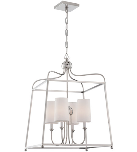Crystorama 2244-PN Sylvan 4 Light 22 inch Polished Nickel Chandelier Ceiling Light in Polished Nickel (PN), White Linen photo