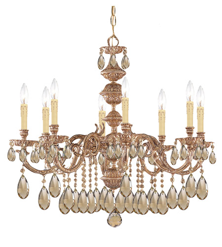 Crystorama Oxford 8 Light Chandelier in Olde Brass, Golden Teak, Hand Cut 2508-OB-GT-MWP photo