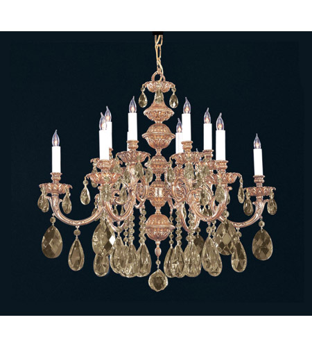 Crystorama 2512-OB-GT-MWP Oxford 12 Light 30 inch Olde Brass Chandelier Ceiling Light in Golden Teak Hand Cut photo