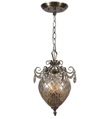 Crystorama Avery 2 Light Pendant in Antique Brass, Cognac, Hand Cut 265-AB-CG-MWP photo