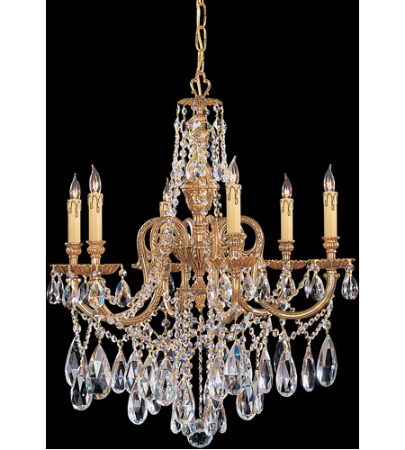 Crystorama 2706-OB-CL-MWP Novella 6 Light 25 inch Olde Brass Chandelier Ceiling Light in Hand Cut photo