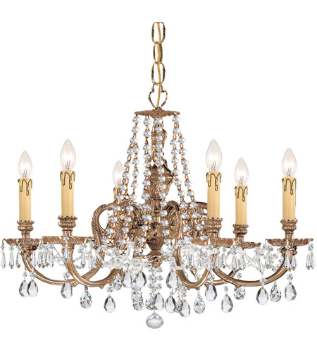 Crystorama 2806-OB-CL-MWP Novella 6 Light 25 inch Olde Brass Chandelier Ceiling Light in Clear Crystal (CL), Hand Cut photo