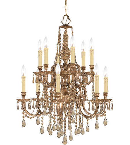 Crystorama Novella 12 Light Chandelier in Olde Brass, Hand Cut 2812-OB-GT-MWP photo
