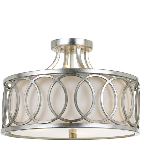 Crystorama 285-SA Graham 3 Light 15 inch Antique Silver Semi Flush Mount Ceiling Light photo