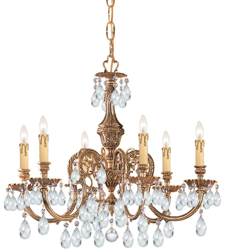 Crystorama 2906-OB-CL-MWP Novella 6 Light 25 inch Olde Brass Chandelier Ceiling Light in Clear Hand Cut photo