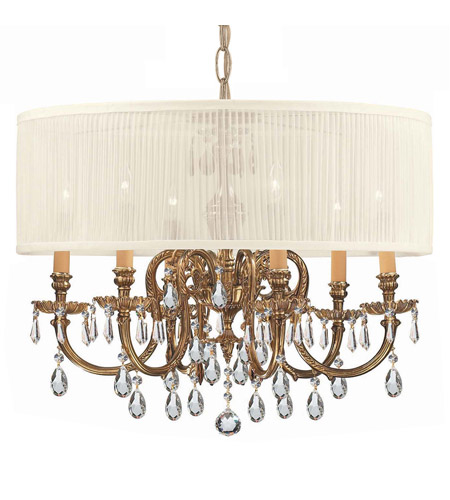 Crystorama 2916-OB-SAW-CLM Brentwood 6 Light 26 inch Olde Brass Chandelier Ceiling Light photo