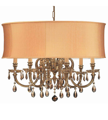 Crystorama 2916-OB-SHG-GTM Brentwood 6 Light 26 inch Olde Brass Chandelier Ceiling Light in Golden Teak (GT), Hand Cut, Olde Brass (OB), Harvest Gold (SHG) photo
