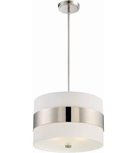 Crystorama 295 Pn Grayson 3 Light 18 Inch Polished Nickel Chandelier Ceiling Light In Polished Nickel Pn White Silk