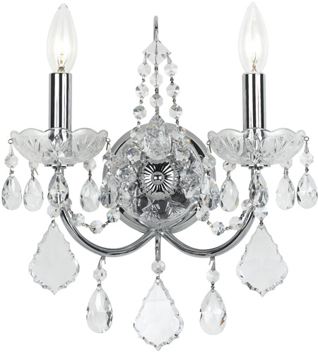 Crystorama 3222-CH-CL-SAQ Imperial 2 Light 12 inch Polished Chrome Wall Sconce Wall Light in Swarovski Spectra (SAQ) photo