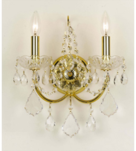 Crystorama 3222-GD-CL-MWP Imperial 2 Light 12 inch Gold Wall Sconce Wall Light photo