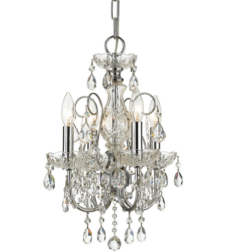 Crystorama Imperial 4 Light Mini Chandelier in Polished Chrome, Hand Cut 3224-CH-CL-MWP photo
