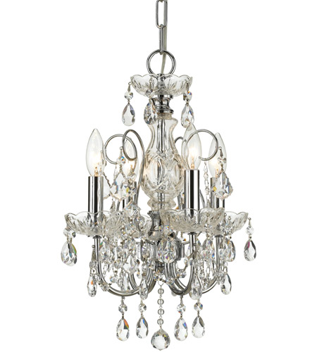 Crystorama 3224-CH-CL-SAQ Imperial 4 Light 12 inch Polished Chrome Mini Chandelier Ceiling Light in Swarovski Spectra (SAQ), Polished Chrome (CH) photo