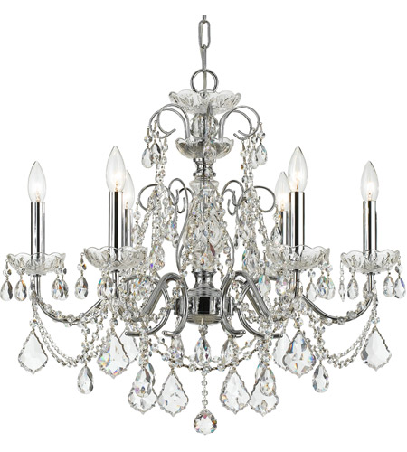 Crystorama 3226-CH-CL-MWP Imperial 6 Light 26 inch Polished Chrome Chandelier Ceiling Light in Clear Hand Cut photo