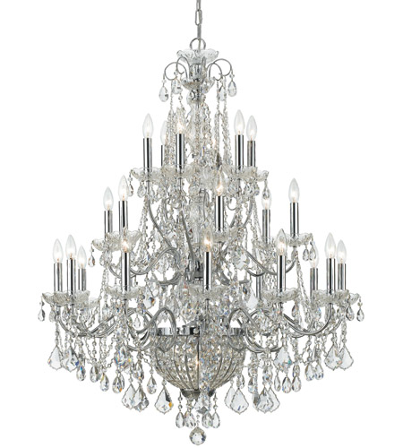 Crystorama 3229-CH-CL-MWP Imperial 26 Light 37 inch Polished Chrome Chandelier Ceiling Light in Hand Cut, Polished Chrome (CH) photo