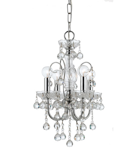 Crystorama 3324-CH-CL-MWP Imperial 4 Light 12 inch Polished Chrome Mini Chandelier Ceiling Light in Clear Crystal (CL), Hand Cut, Polished Chrome (CH) photo