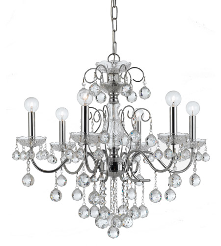 Crystorama 3326-CH-CL-MWP Imperial 6 Light 24 inch Polished Chrome Chandelier Ceiling Light photo