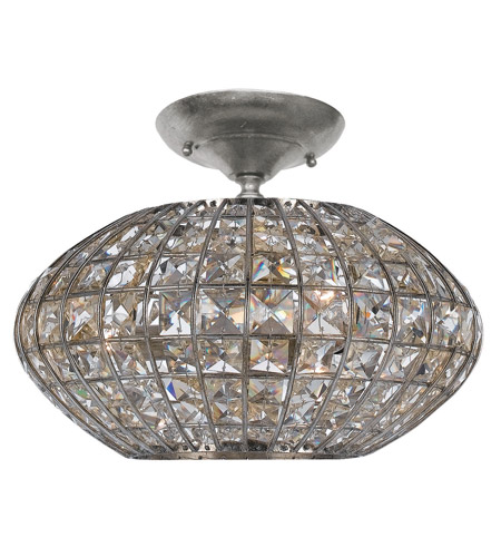 Crystorama 340-SA Solstice 3 Light 12 inch Antique Silver Semi Flush Mount Ceiling Light photo