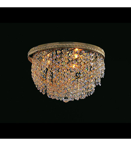 Crystorama Lighting Bohemian Crystal Basket 3 Light Flush Mount in Gold & Swarovski Spectra - Clear 349-14-GD-CL-SAQ photo