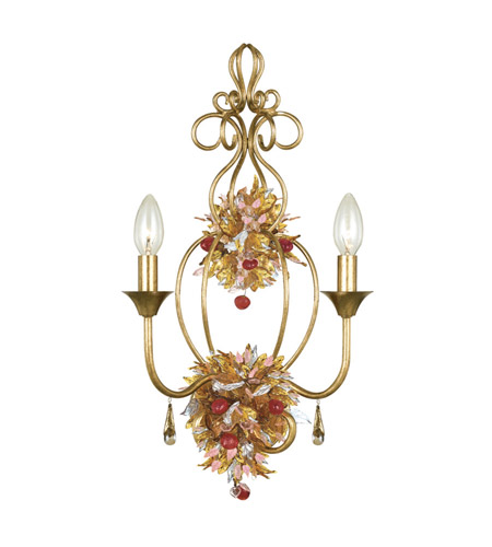 Crystorama Fiore 2 Light Wall Sconce in Antique Gold Leaf 402-GA photo