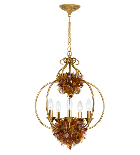 Crystorama Fiore 5 Light Foyer Lantern in Antique Gold Leaf 405-GA photo