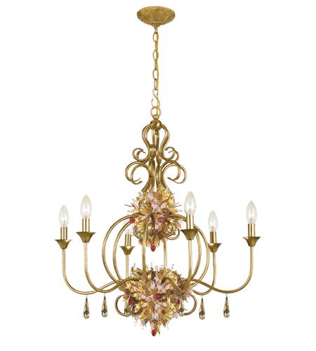 Crystorama Fiore 6 Light Chandelier in Antique Gold Leaf 406-GA photo
