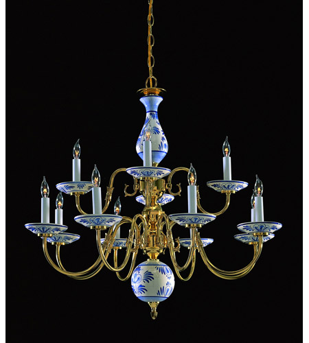 Crystorama Lighting Classic Ceramic 12 Light Chandelier in Polished Brass 4112-PB-D photo