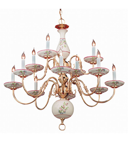 Crystorama Classic Ceramic 12 Light Chandelier in Polished Brass 4112-PB-R photo