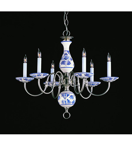 Crystorama Lighting Classic Ceramic 6 Light Chandelier in Pewter 4115-PW-D photo