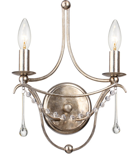 Crystorama 422-SA Metro 2 Light 10 inch Antique Silver Wall Sconce Wall Light photo