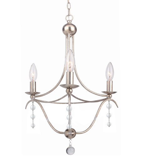 Crystorama 433-SA Metro 3 Light 16 inch Antique Silver Mini Chandelier Ceiling Light photo