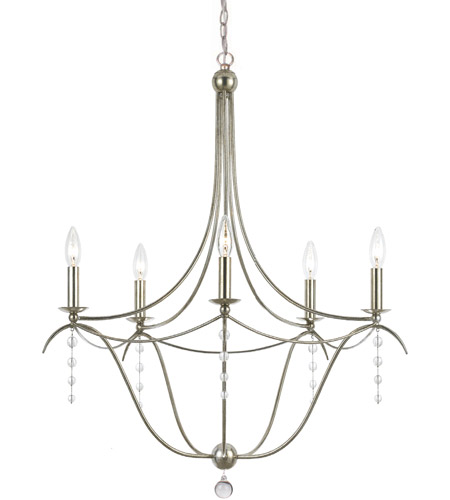 Crystorama Metro II 5 Light Chandelier in Antique Silver 435-SA photo