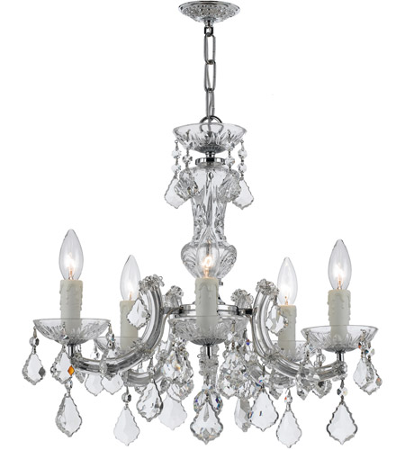Crystorama 4376 Ch Cl Mwp Maria Theresa 5 Light 20 Inch Polished Chrome Mini Chandelier Ceiling In Clear Hand Cut