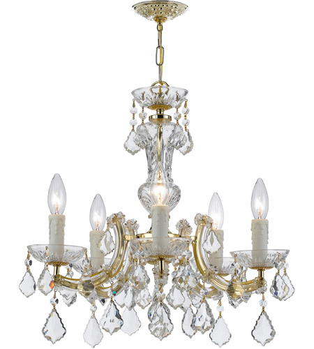 Crystorama 4376-GD-CL-MWP Maria Theresa 5 Light 20 inch Gold Chandelier Ceiling Light in Hand Cut, Gold (GD) photo
