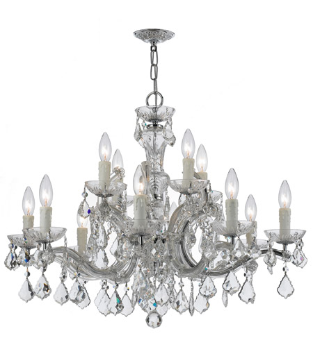 Crystorama 4379-CH-CL-MWP Maria Theresa 12 Light 30 inch Polished Chrome Chandelier Ceiling Light in Polished Chrome (CH), Clear Swarovski Strass photo