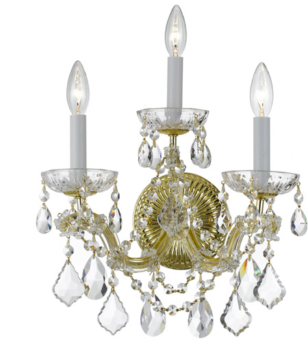 Crystorama Maria Theresa 3 Light Wall Sconce in Gold, Swarovski Spectra 4403-GD-CL-SAQ photo