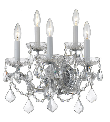 Crystorama 4404-CH-CL-S Maria Theresa 5 Light 14 inch Polished Chrome Wall Sconce Wall Light photo
